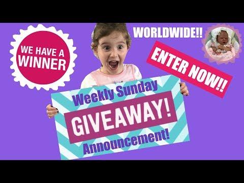 WEEKLY SUNDAY GIVEAWAY!! ENTER NOW!! PLUS LAST WEEKS WINNER ANNOUNCED