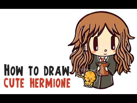 How To Draw A Cute Hermione Granger And Crookshanks Harry Potter
