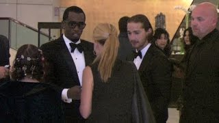 Shia Labeouf and Puff Daddy bump into each other in the Marriot Hotel hall in Cannes