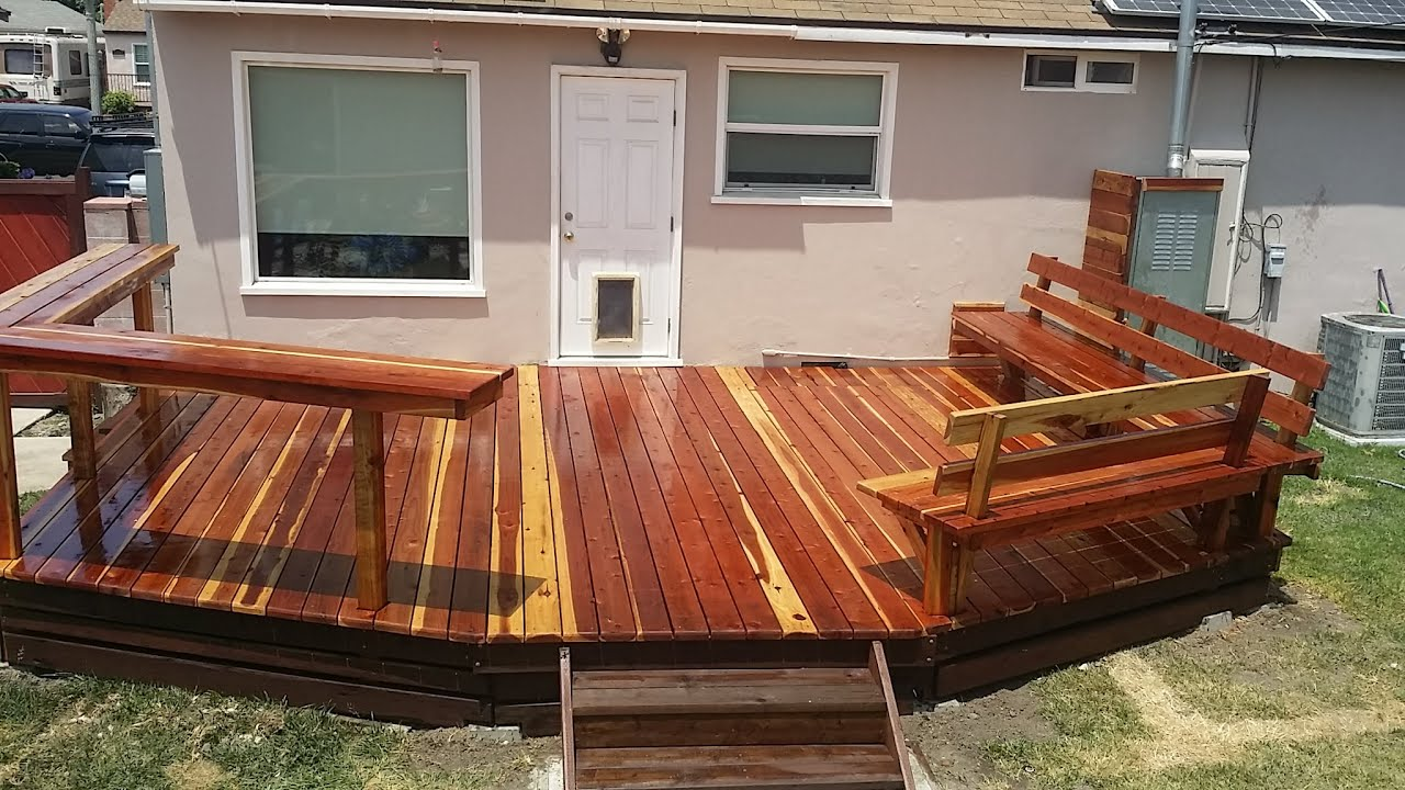 Redwood Deck With Built In Benches And Bar