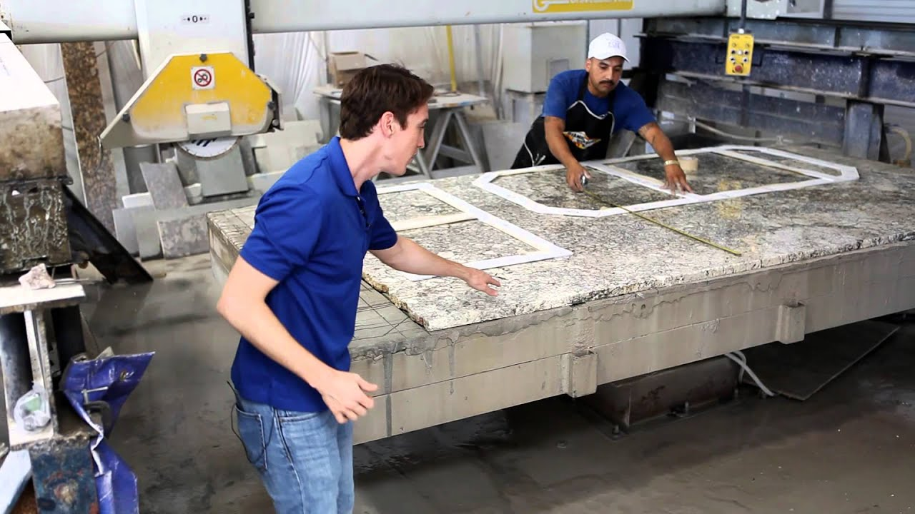 Fox granite fabrication process template layout youtube for Template for granite countertops
