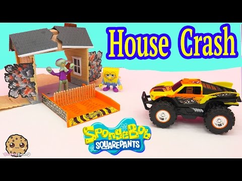 Spongebob Square Pants New Hot Wheels Truck Monster Reward Stunt FX - House Crash Playset