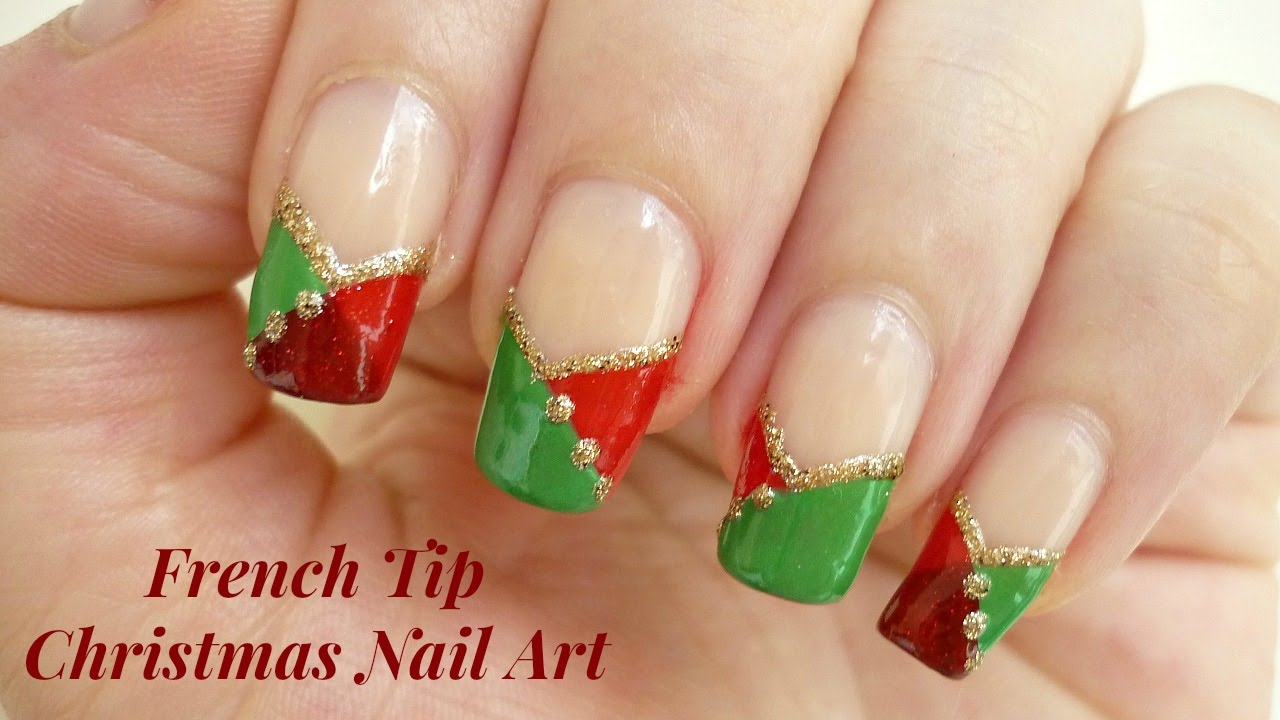 Easy French Tip Christmas Nail Art Youtube