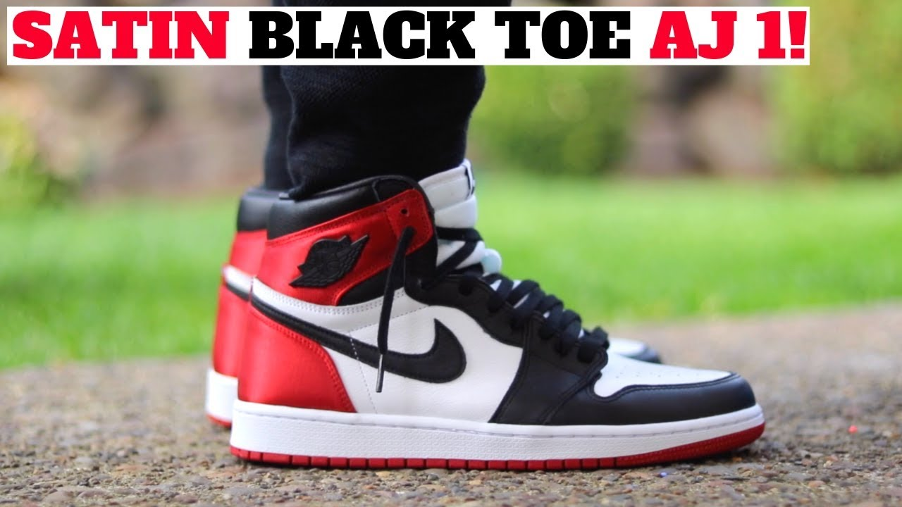 newest 5c71d 471b1 AIR JORDAN 1 'SATIN BLACK TOE' ON FEET REVIEW! 🔥🔥