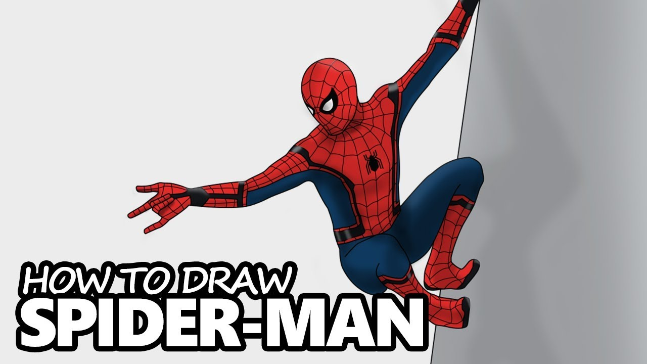 How To Draw Spider Man Spider Man Homecoming Easy Drawing