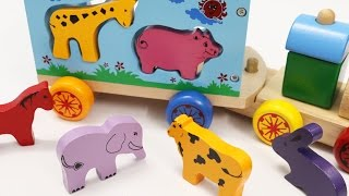 The Animals Train Toy Learn Animals with Wooden Train for Children Toddlers Learning Video for Kids