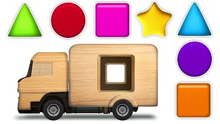 KidsCamp - Learn Shapes With Wooden Truck Toy Colors and Sha...