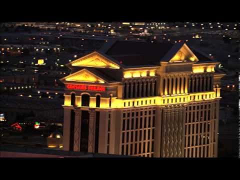 Caesars Palace Hotel And Casino Las Vegas Aerial View At Night From Helicopter Tour Video Footage