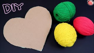 Diy  Wall Hanging Idea!!! How To Make Heart Shaped Wall Hanging For Home Decoration!!!