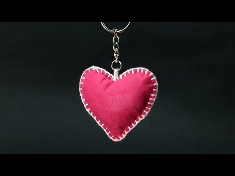 DIY Valentine Gift for Him - Felt Heart Keychain Step by Step