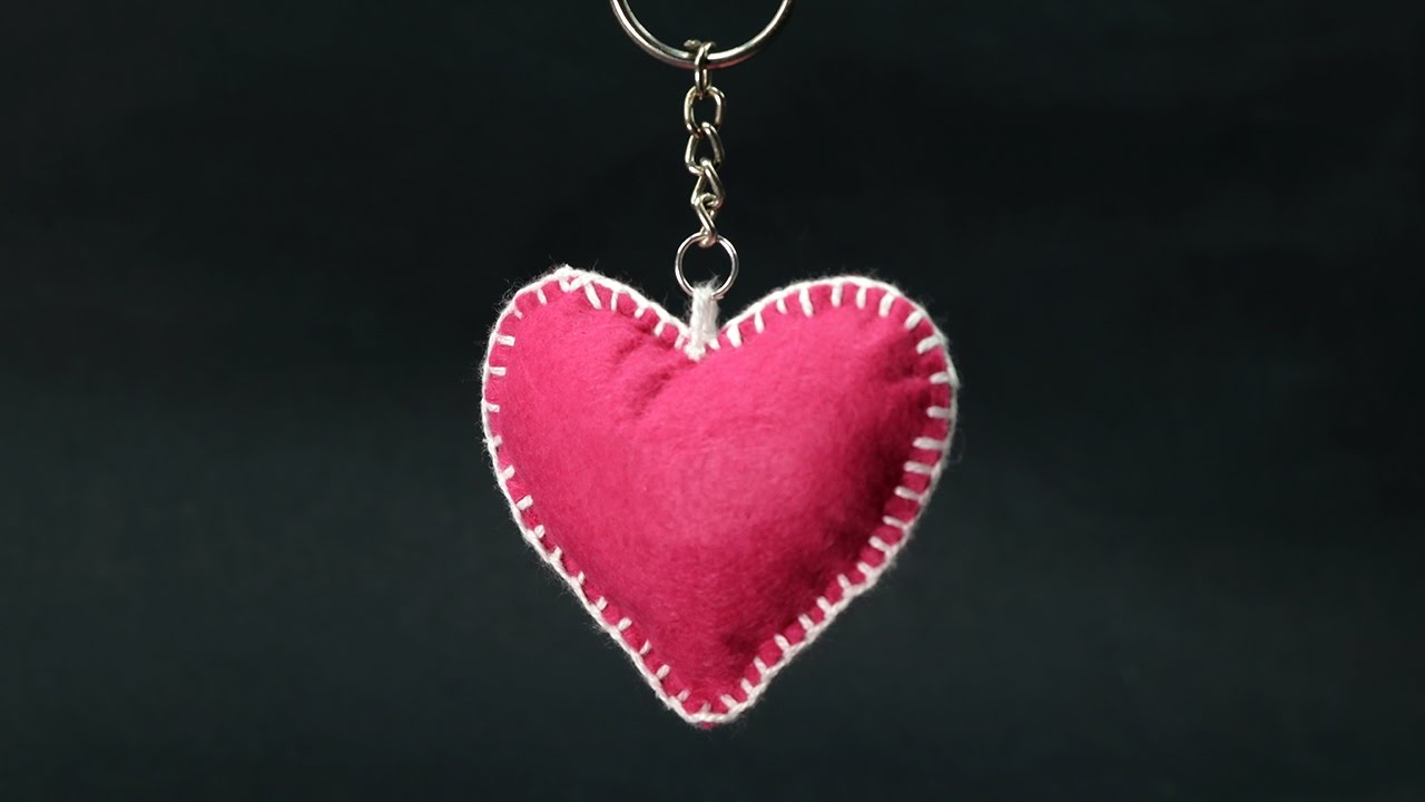 DIY Valentine Gift For Him Felt Heart Keychain Step By