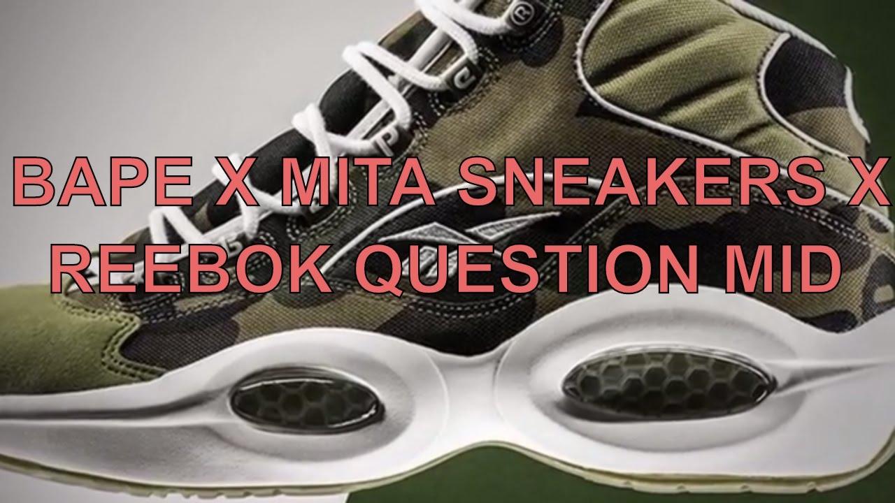 BAPE X MITA SNEAKERS X REEBOK QUESTION MID - YouTube 9ca7f65f1