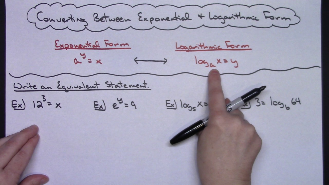 Converting Between Exponential Form And Logarithmic Form Youtube