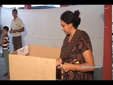 Voter casting their votes in Maninagar assembly by-election in Gujarat