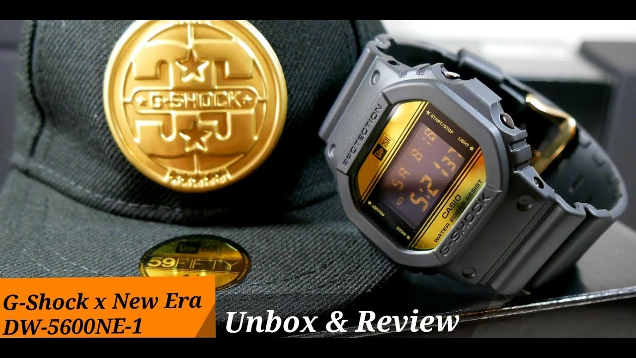 Dw 5600ne 1 G Shock X New Era Limited Edition Unboxing Review Casio Ga 110ts 1a4dr Black And Orange Dial With Led Light