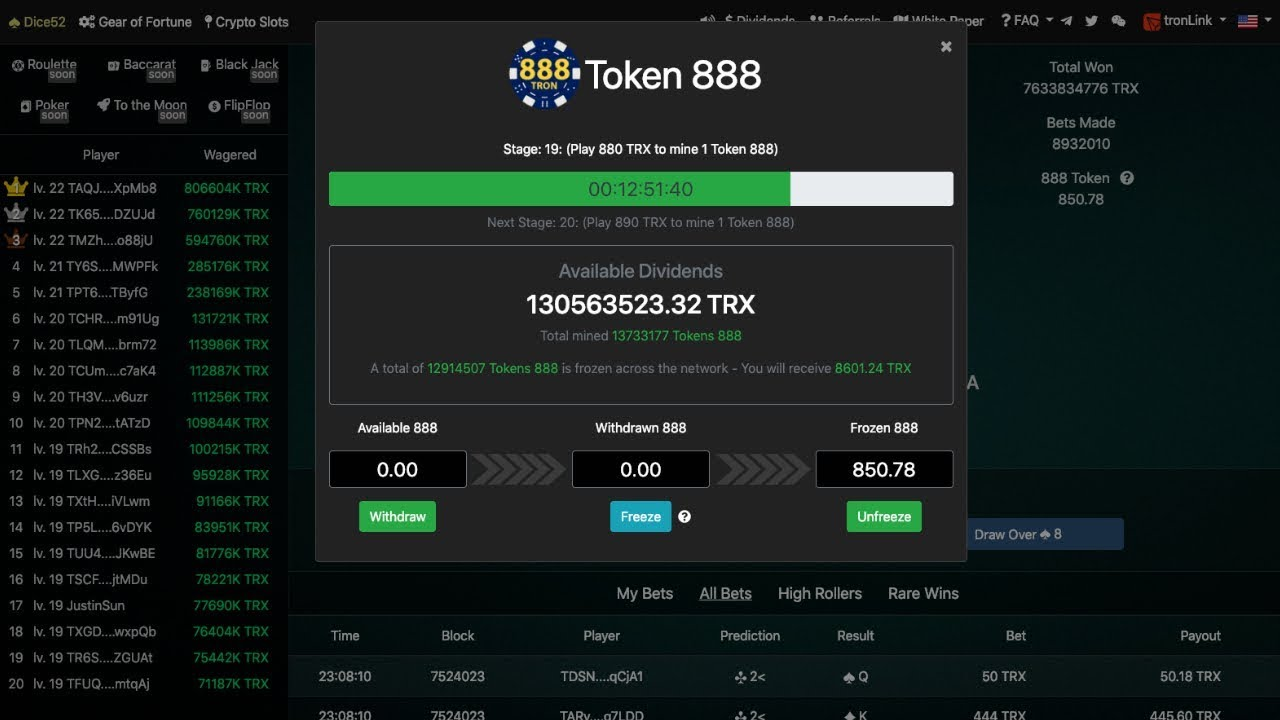 888 Tron Hits Record High Dividend Payout | 888Tron FOMO