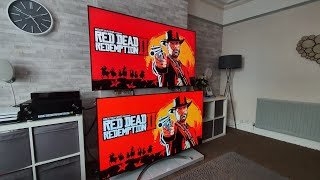 Gaming test between the samsung q90r and lg b8 oled using a playstatipn 4 pro games tested are call of duty ww2 red dead redemption 2. both tv's pict...