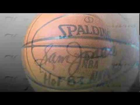Sam Jones - Boston Celtics - Autographed Basketball signed in Black Paint Pen with inscriptions