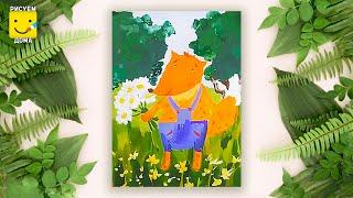 Как нарисовать лисёнка - урок рисования для детей 4-7 лет. Дети рисуют лису поэтапно