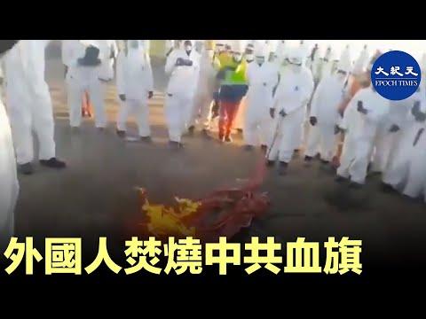 外國人焚燒中共血旗。  #香港大紀元新唐人聯合新聞頻道