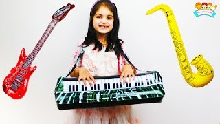 Katy Pretend Play with Musical Toy Instruments Kids Music Talent Show