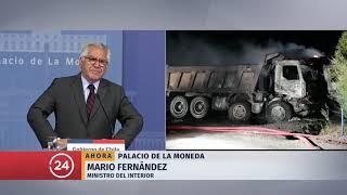Gobierno anuncia querellas por incendio terrorista tras ataques en el Biobío y La Araucanía