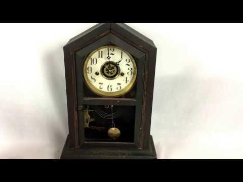 Vintage Antique Old Waterbury Shelf Mantle Parlor Clock Rare Old Antique Working