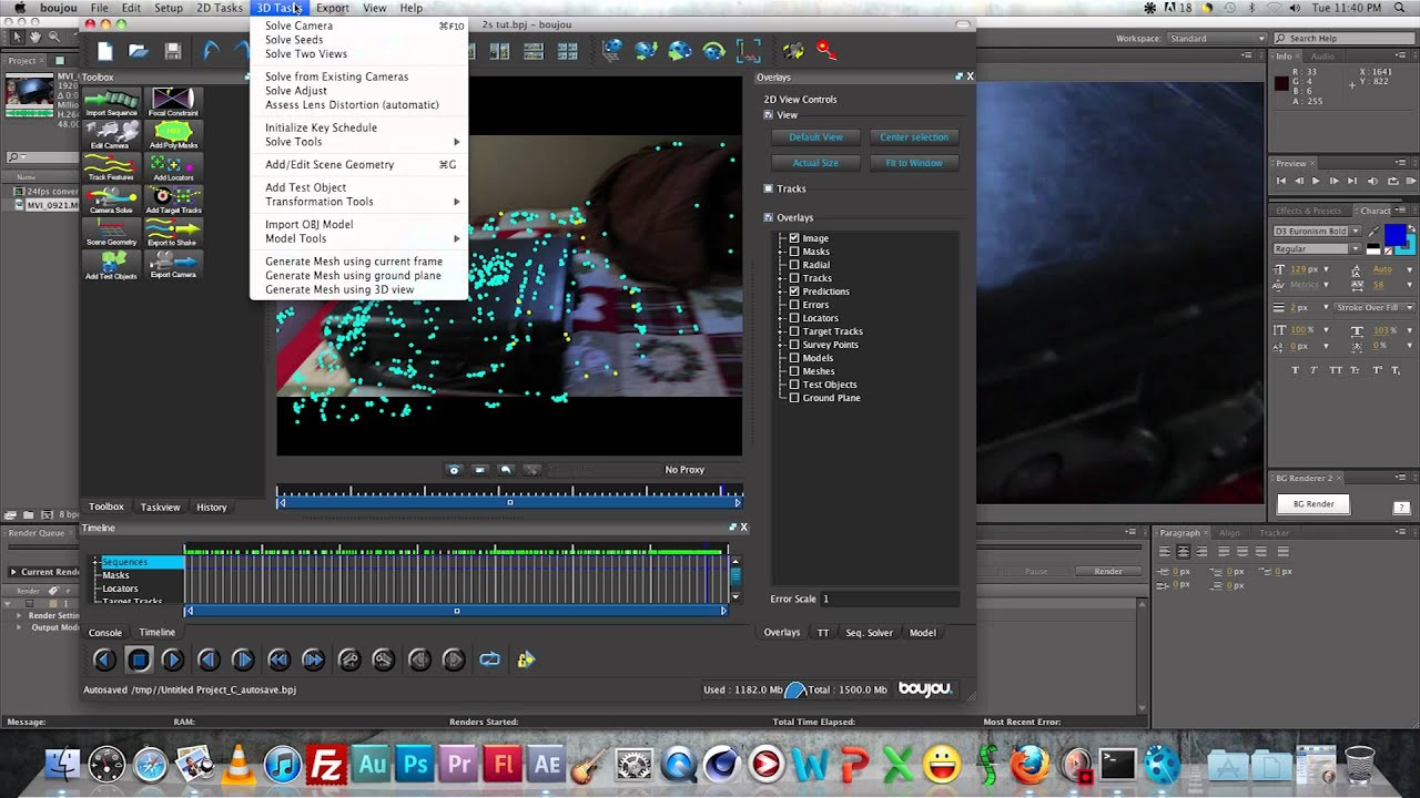 3d motion tracking tutorial boujou, 3ds max, after effects 1/3.