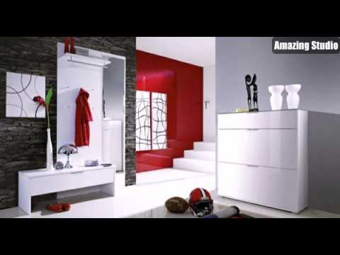 flur gestalten dielenm bel in wei rote wandfarbe youtube. Black Bedroom Furniture Sets. Home Design Ideas