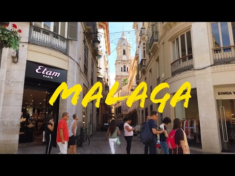 Malaga Walking Tour City Centre Main Streets Shops, Market Costa Del Sol Spain 2019