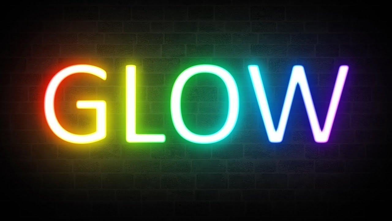 rainbow neon glow text effect photoshop tutorial youtube