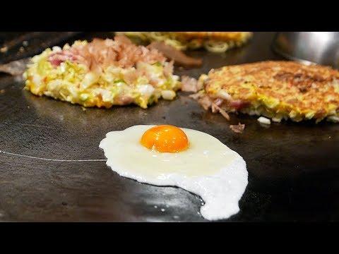 Japanese Street Food - OKONOMIYAKI Seafood Pancake Osaka Japan