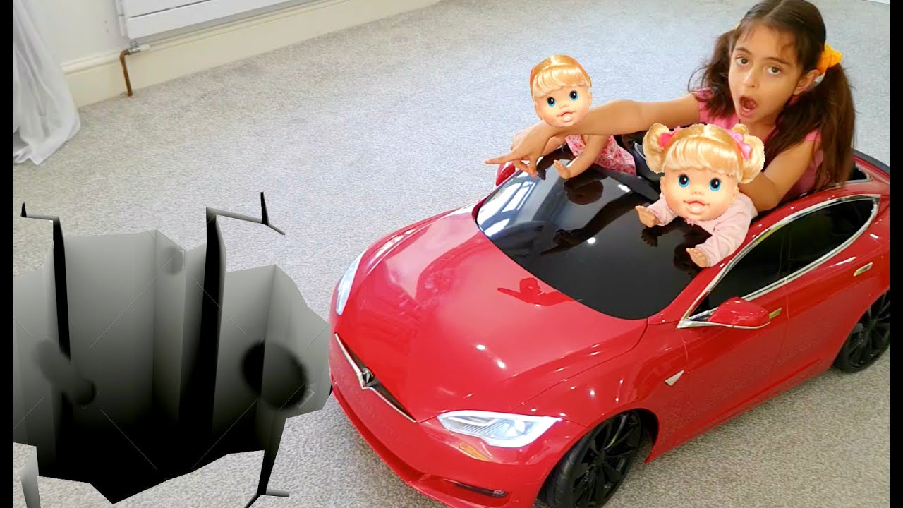 Emily Ride on Sport Car with her Babies