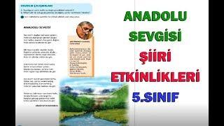 Anadolu Sevgisi Şiiri Etkinlikleri ve Cevapları 5.Sınıf