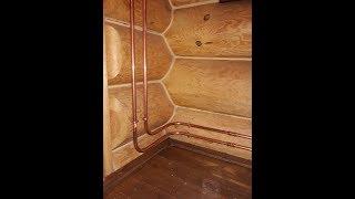 Отопление в деревянном доме .Ретро радиаторы  и  медная труба. Сантехник Санкт Петербург<