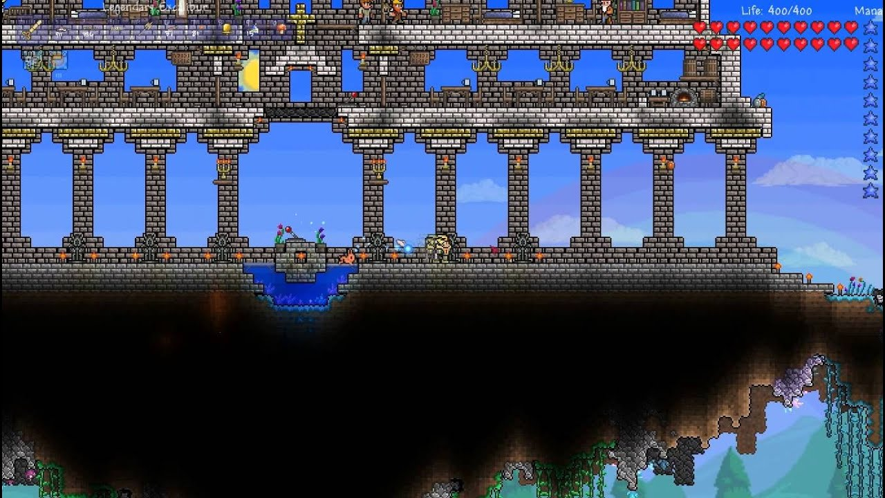 Terraria Creation Crest S Castle And Floating Garden Tour