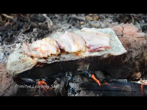 Primitive Technology: Cooking Meat on a Rock