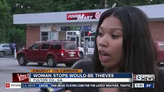 Woman jumps through car window
