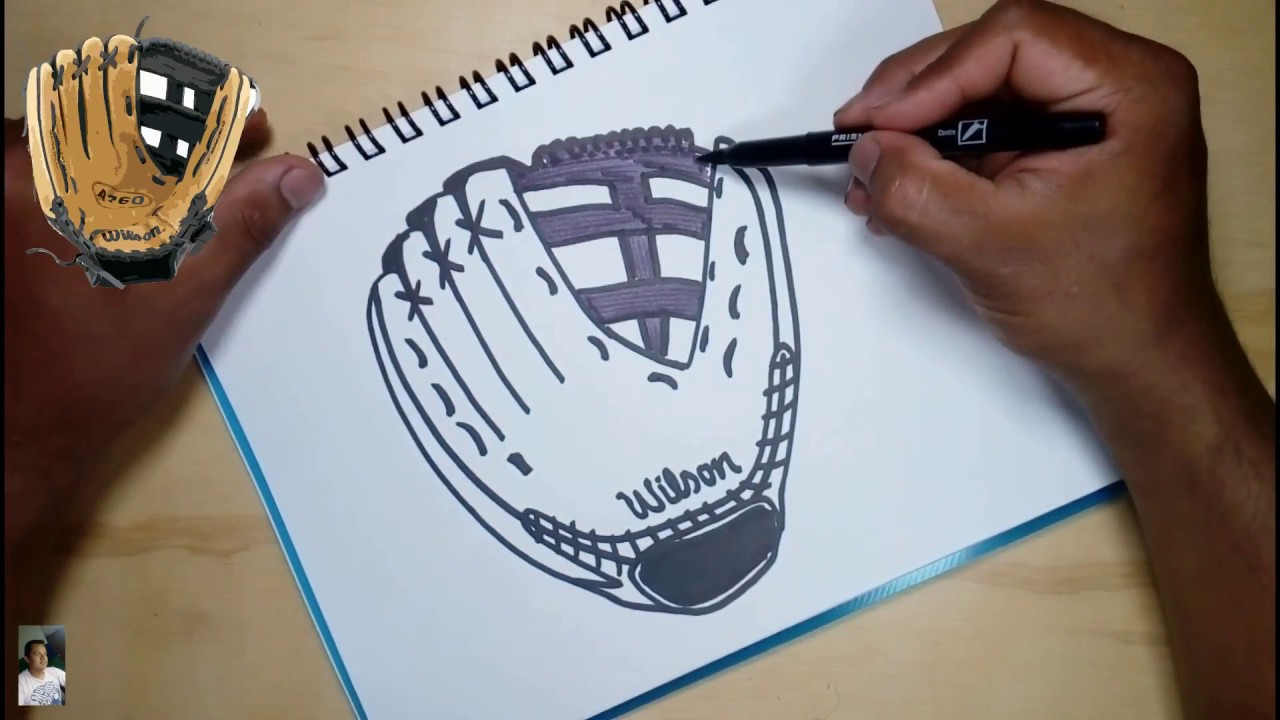 How to draw a baseball glove easily - YouTube