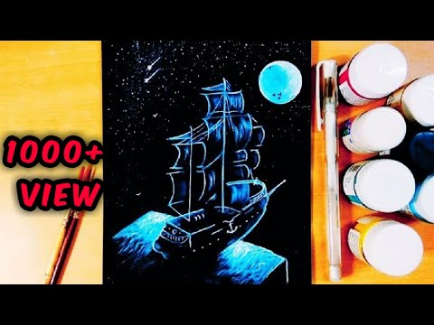 Easy Painting of Moonlight Night Sky With A Lonely Ship In a Black Background | Acrylic Painting