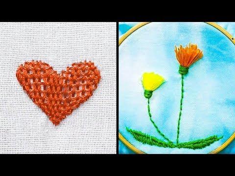 Как вышить сердечко на ткани