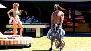 Liz Tries To Annoy Austin While He Works Out 8/17 BB17