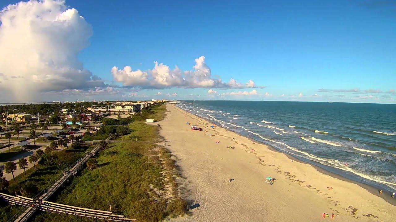 Over Alan Shepard Park Cocoa Beach Aerial Video