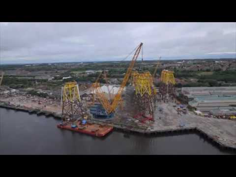 #Solutions #Howwedoit Sarens SGC 120 loads out 397-tonne jacket modules