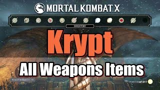 Mortal Kombat X Krypt All Weapons Items In Krypt