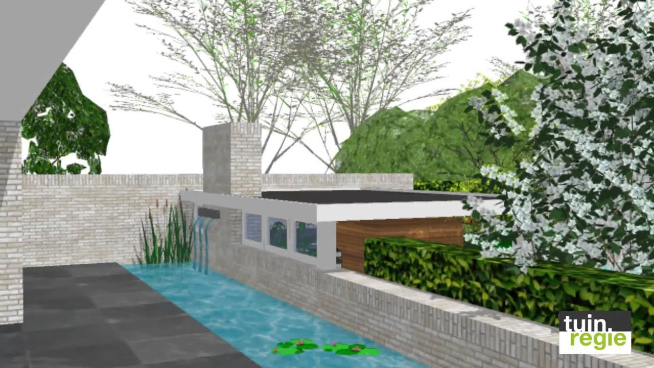 Tuinregie visualisatie moderne luxe tuin youtube - Zwembad terras outs ...