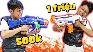 Tony   Súng Liên Thanh 500k VS Súng Ống 1 Triệu  - Nerf Gun Challenge