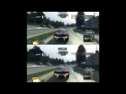 Burnout Paradise - Split Screen Comparison - Plaza Endurance Ranked Race