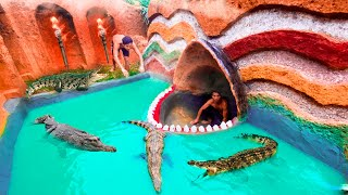 Unbelievable! Build Swimming Pool Water Slide Crocodile Around The Secret Underground House