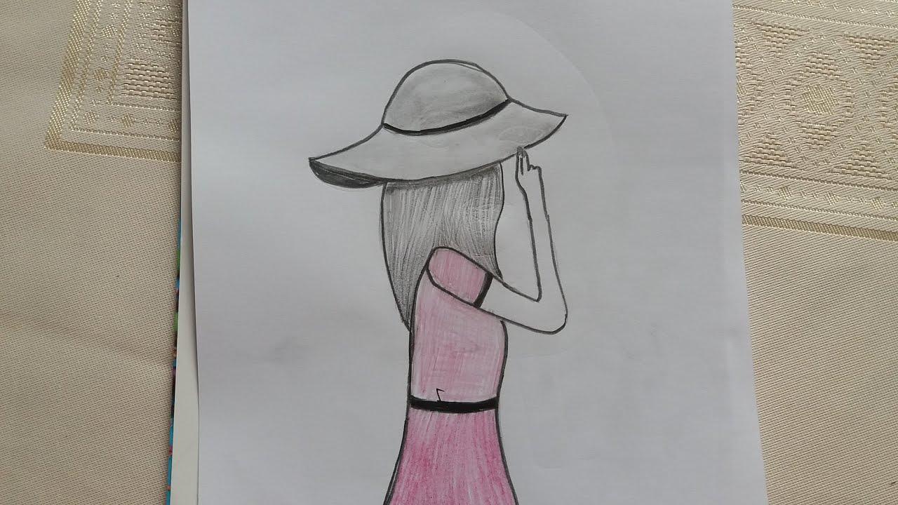رسم بنات سهل جدا رسم فتاه من الجنب بالقلم الرصاص خطوه بخطوه